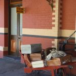 Luggage on the platform at Daylesford station
