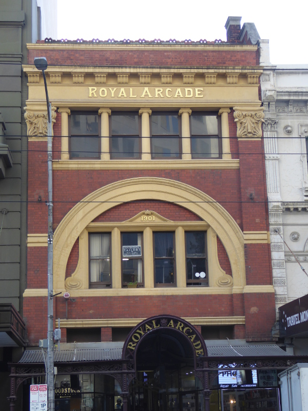 Brick entrance to the Royal Arcade in Melbourne