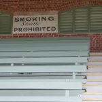 Vintage No Smoking sign in old grandstand
