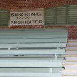 Vintage No Smoking sign in old grandstand