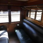 Inside a compartment on the Castlemaine Maldon steam train