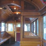 Inside a vintage tram in Bendigo