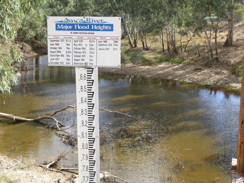 Flood marker for the Avoca River in Charlton