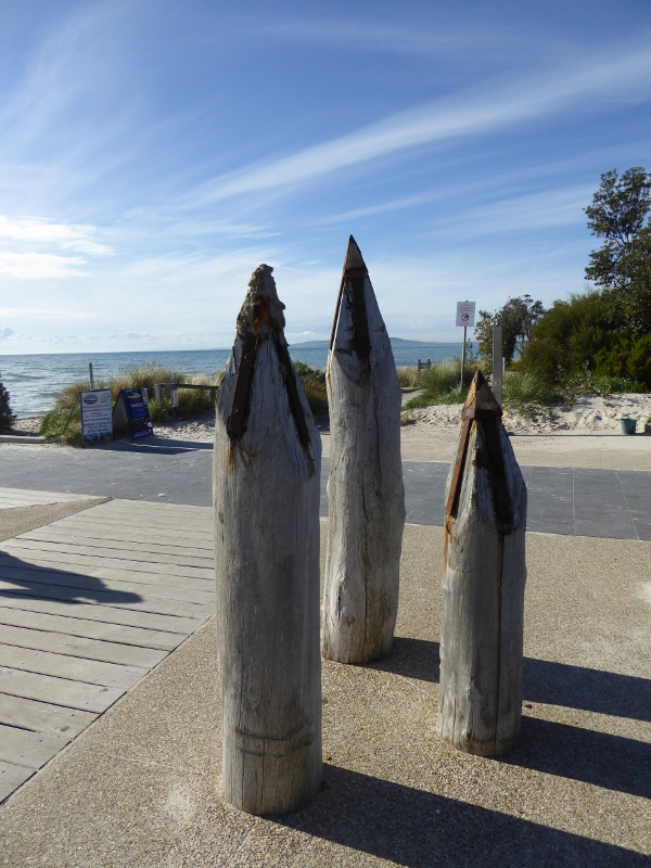 Parts of the old pier at Rosebud now a sculpture